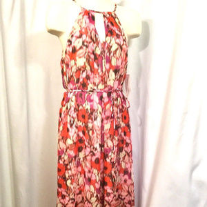 MAGGY LONDON Pink Orange Floral Maxi Dress
